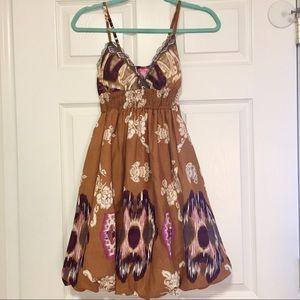 ShesCool brown patterned tank mini sun dress